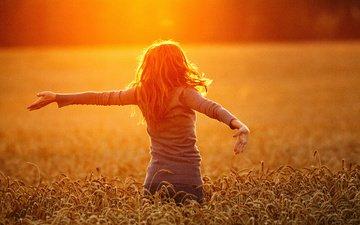 природа, закат, девушка, пейзаж, поле, пшеница