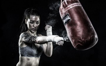 girl, model, tattoo, black background, hands, blow, boxing, pear