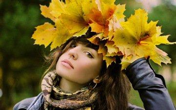 листья, девушка, взгляд, осень, волосы, лицо, шарф