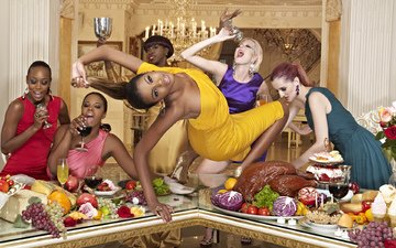 interior, food, fruit, table, girls, glass, wine, meat, dresses, party