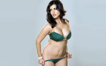 girl, pose, brunette, model, bikini, sunny leone