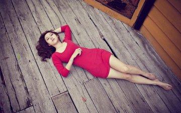 девушка, модель, ноги, азиатка, красное платье, на полу