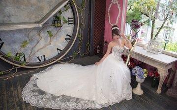 девушка, взгляд, часы, волосы, лицо, азиатка, невеста, свадебное платье