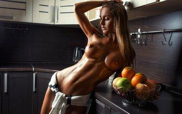 девушка, поза, фрукты, кухня, грудь, волосы, лицо