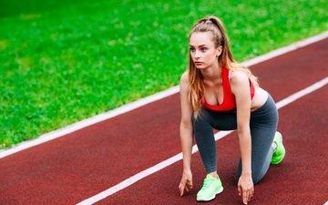 girl, pose, start, treadmill, athlete