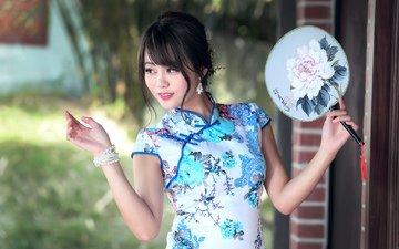 девушка, платье, улыбка, взгляд, волосы, лицо, азиатка