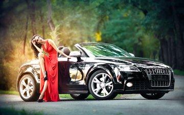девушка, поза, взгляд, ножки, волосы, лицо, красное платье, ауди, черный авто