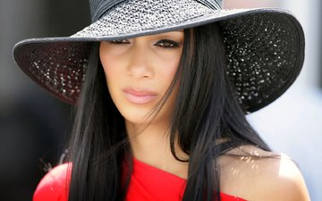 girl, brunette, look, model, hair, face, singer, hat, nicole scherzinger