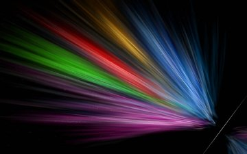 line, rays, color, rainbow, form, black background