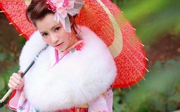 стиль, девушка, взгляд, волосы, лицо, зонтик, кимоно, мех, азиатка