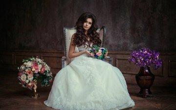 цветы, девушка, взгляд, волосы, лицо, белое платье, невеста, букеты
