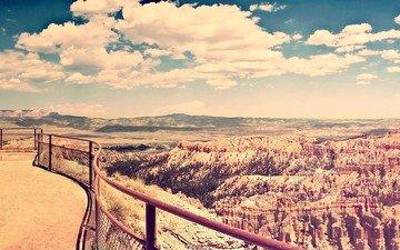 облака, горы, скалы, пейзаж, вид, каньон, высота, сетка, ограждение, долина, пейзаж. скалы
