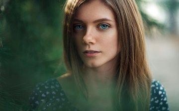 глаза, природа, девушка, платье, портрет, взгляд, лицо, валерия