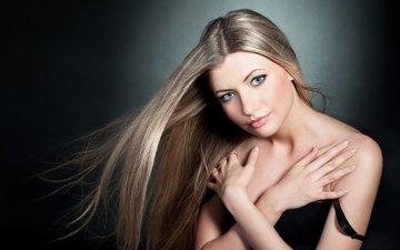 девушка, взгляд, волосы, лицо, голые плечи, julia sariy