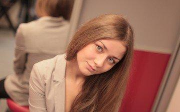 отражение, улыбка, взгляд, зеркало, волосы, актриса, ингрид олеринская