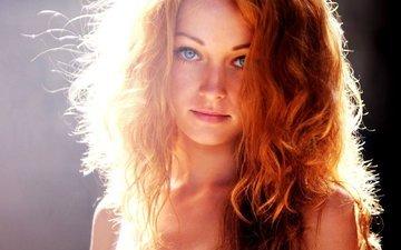 девушка, портрет, рыжая, модель, лицо, фотосессия, длинные волосы, голубоглазая