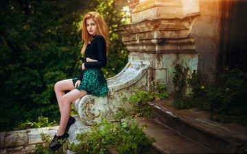 деревья, девушка, юбка, модель, ноги, фотосессия, сидя, солнечный свет, галина ровер, иван горохов