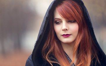 девушка, портрет, взгляд, рыжая, модель, лицо, капюшон, фотосессия, длинные волосы