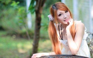 девушка, улыбка, взгляд, рыжая, волосы, лицо, азиатка, белое платье