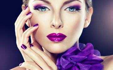 девушка, взгляд, модель, лицо, руки, макияж, бант, маникюр