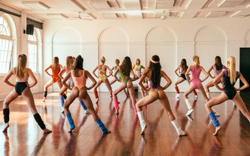 girls, fitness, dancing, rear view, exercise, aerobics, choreography