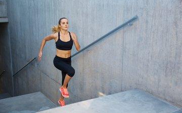 лестница, ступеньки, девушка, бег, спортсменка, спортивная одежда