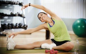 девушка, фитнес, тренировка, тренажерный зал, спортивная форма