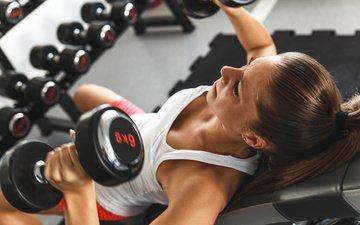девушка, фитнес, гантели, тренировка, тренажерный зал, спортивная форма