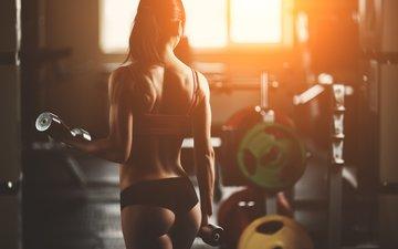 девушка, спортсменка, фитнес, гантели, спортивная форма