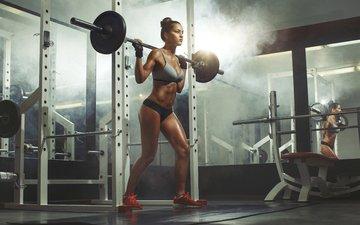 модель, фитнес, спортзал, штанга, тренировка