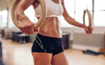 девушка, кольца, спортзал, тренировка, упражнения
