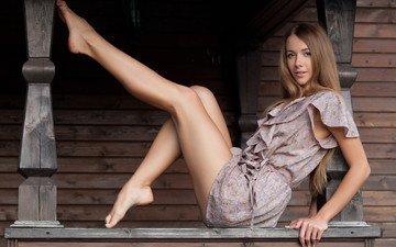 девушка, платье, модель, ножки, фотосессия, длинные волосы, босиком, лина даймонд