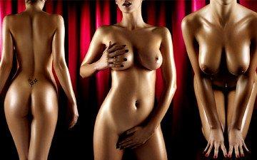девушки, грудь, фигура, попка, животик, голые