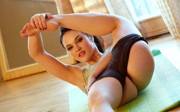 girl, gymnast, model, posing