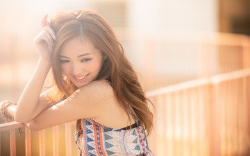 девушка, фон, улыбка, лето, лицо, азиатка