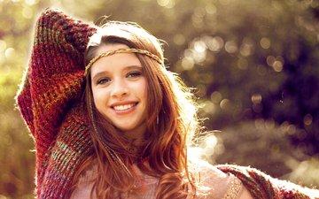 девушка, улыбка, взгляд, модель, волосы, лицо, рыжеволосая