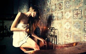 вода, девушка, модель, волосы, полотенце, ванна