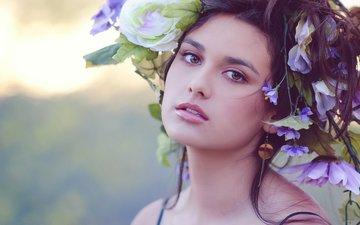 цветы, девушка, взгляд, волосы, лицо, макияж, венок