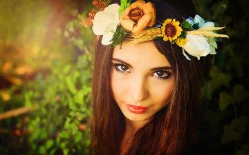 цветы, девушка, взгляд, волосы, лицо, макияж, венок, кареглазая