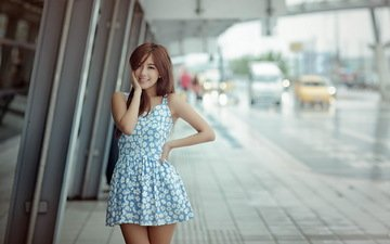 девушка, платье, улыбка, улица, азиатка