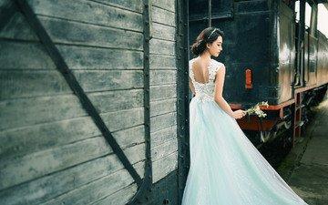 цветы, девушка, брюнетка, поезд, азиатка, невеста, свадебное платье
