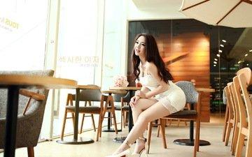 girl, dress, brunette, cafe, model, sitting, feet, heels, asian, long hair
