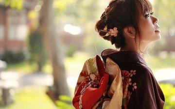 стиль, девушка, фон, лето, взгляд, лицо, одежда, кимоно, азиатка