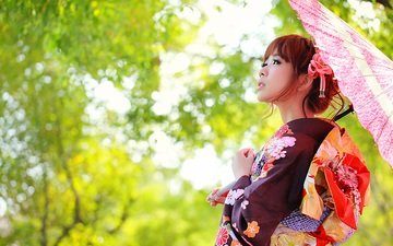 face, clothing, umbrella, kimono, asian