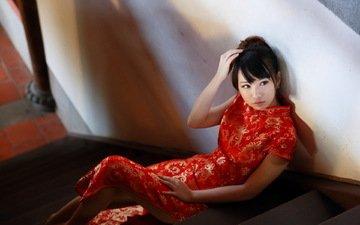 лестница, девушка, модель, азиатка, красное платье, ступени