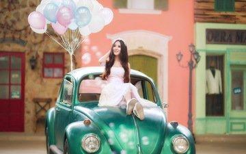 девушка, платье, машина, сидит, воздушные шары, азиатка, раритет