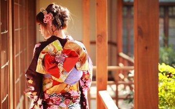 стиль, девушка, волосы, кимоно, азиатка