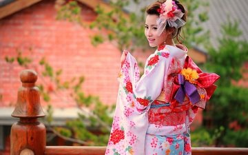 style, girl, mood, smile, kimono, asian