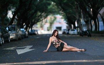 дорога, девушка, настроение, платье, город, машины, азиатка