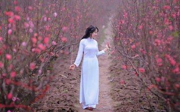 цветение, девушка, сад, модель, весна, в белом, азиатка